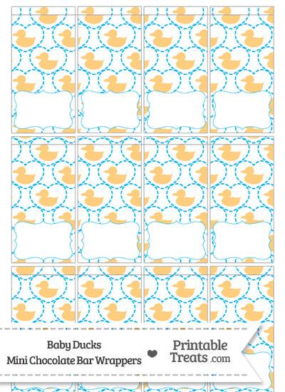 Light Orange Baby Ducks Mini Chocolate Bar Wrappers from PrintableTreats.com