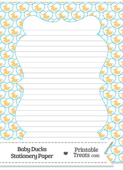 Light Orange Baby Ducks Stationery Paper from PrintableTreats.com