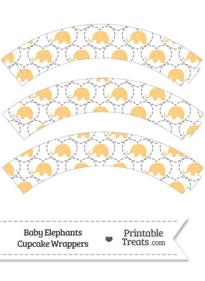 Light Orange Baby Elephants Cupcake Wrappers from PrintableTreats.com