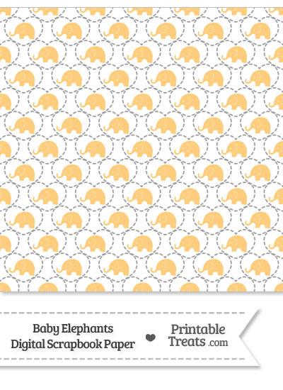 Light Orange Baby Elephants Digital Scrapbook Paper from PrintableTreats.com