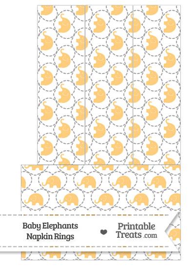 Light Orange Baby Elephants Napkin Rings from PrintableTreats.com