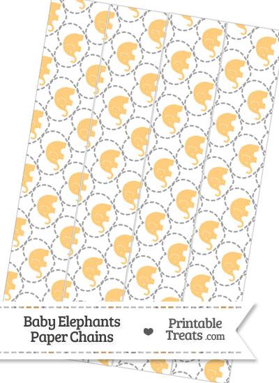 Light Orange Baby Elephants Paper Chains from PrintableTreats.com