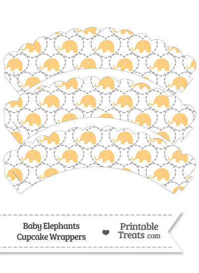 Light Orange Baby Elephants Scalloped Cupcake Wrappers from PrintableTreats.com