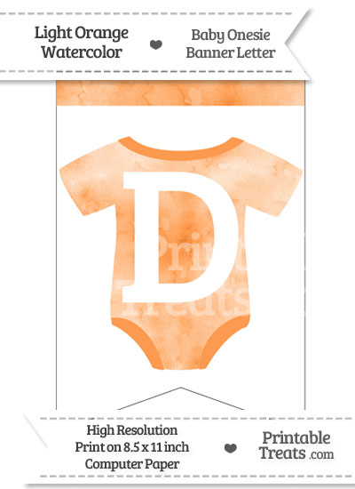 Light Orange Watercolor Baby Onesie Bunting Banner Letter D from PrintableTreats.com
