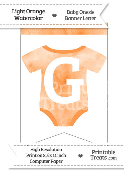 Light Orange Watercolor Baby Onesie Bunting Banner Letter G from PrintableTreats.com