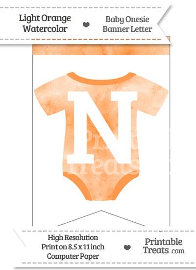 Light Orange Watercolor Baby Onesie Bunting Banner Letter N from PrintableTreats.com