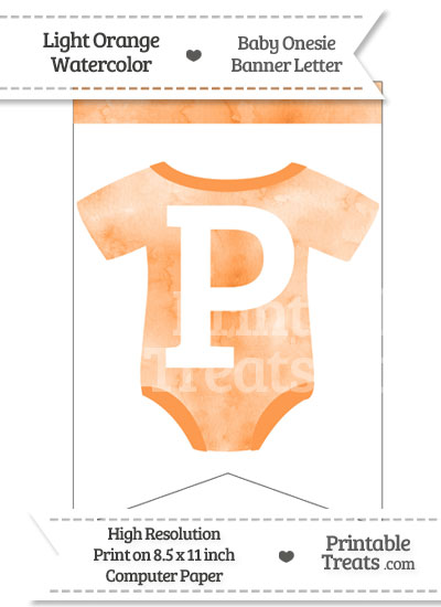 Light Orange Watercolor Baby Onesie Bunting Banner Letter P from PrintableTreats.com