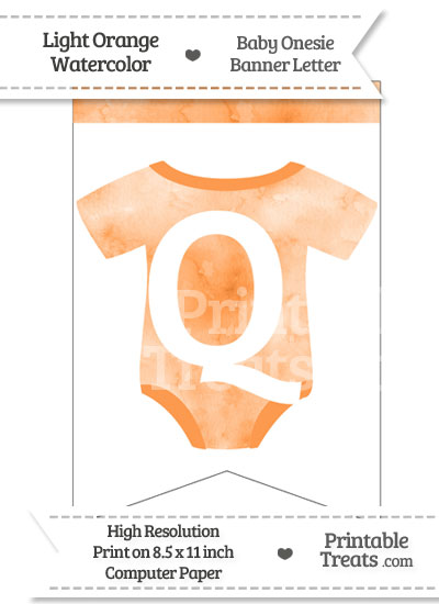 Light Orange Watercolor Baby Onesie Bunting Banner Letter Q from PrintableTreats.com