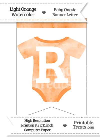 Light Orange Watercolor Baby Onesie Bunting Banner Letter R from PrintableTreats.com