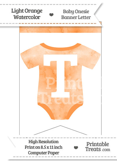 Light Orange Watercolor Baby Onesie Bunting Banner Letter T from PrintableTreats.com