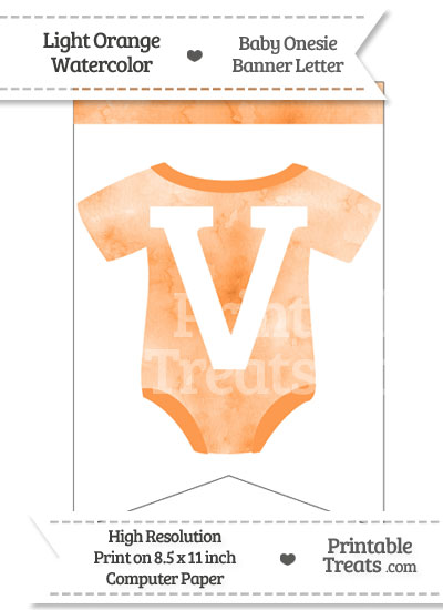 Light Orange Watercolor Baby Onesie Bunting Banner Letter V from PrintableTreats.com