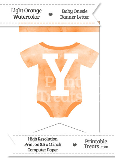 Light Orange Watercolor Baby Onesie Bunting Banner Letter Y from PrintableTreats.com