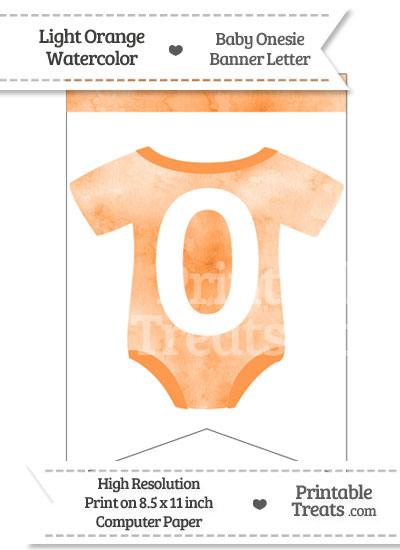Light Orange Watercolor Baby Onesie Bunting Banner Number 0 from PrintableTreats.com