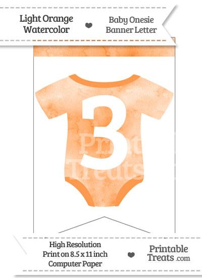 Light Orange Watercolor Baby Onesie Bunting Banner Number 3 from PrintableTreats.com
