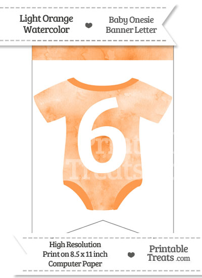 Light Orange Watercolor Baby Onesie Bunting Banner Number 6 from PrintableTreats.com