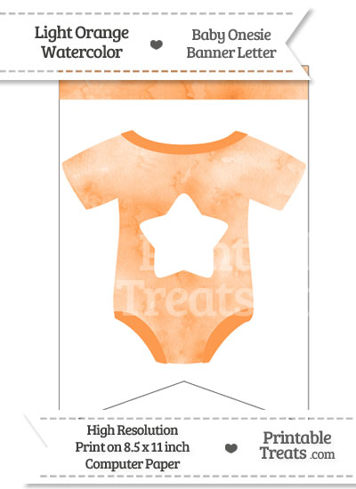 Light Orange Watercolor Baby Onesie Bunting Banner Star End Flag from PrintableTreats.com