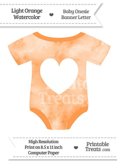 Light Orange Watercolor Baby Onesie Shaped Banner Heart End Flag from PrintableTreats.com