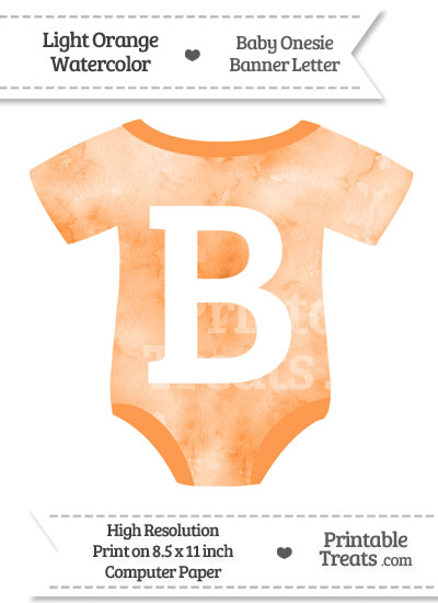 Light Orange Watercolor Baby Onesie Shaped Banner Letter B from PrintableTreats.com