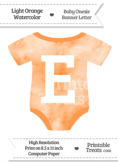 Light Orange Watercolor Baby Onesie Shaped Banner Letter E from PrintableTreats.com