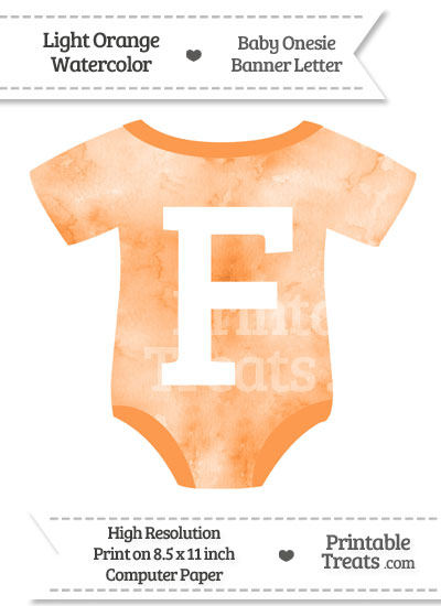 Light Orange Watercolor Baby Onesie Shaped Banner Letter F from PrintableTreats.com