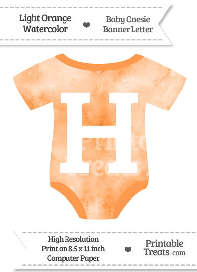 Light Orange Watercolor Baby Onesie Shaped Banner Letter H from PrintableTreats.com