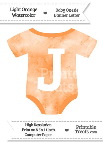 Light Orange Watercolor Baby Onesie Shaped Banner Letter J from PrintableTreats.com
