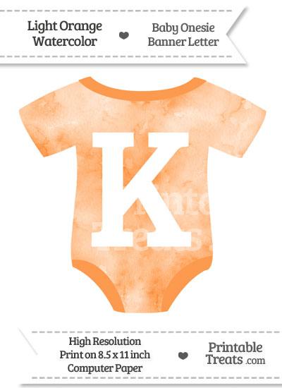 Light Orange Watercolor Baby Onesie Shaped Banner Letter K from PrintableTreats.com