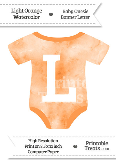 Light Orange Watercolor Baby Onesie Shaped Banner Letter L from PrintableTreats.com