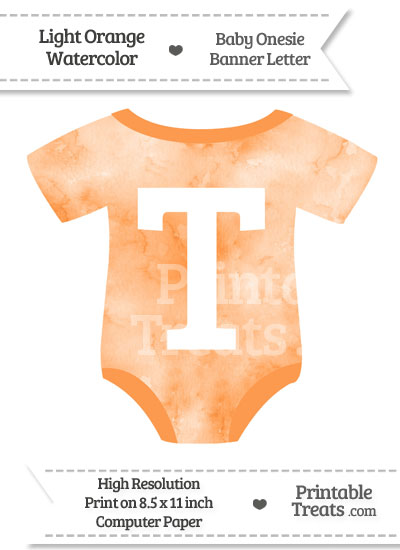 Light Orange Watercolor Baby Onesie Shaped Banner Letter T from PrintableTreats.com