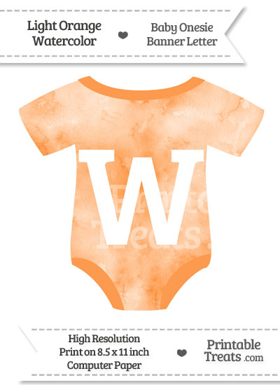Light Orange Watercolor Baby Onesie Shaped Banner Letter W from PrintableTreats.com