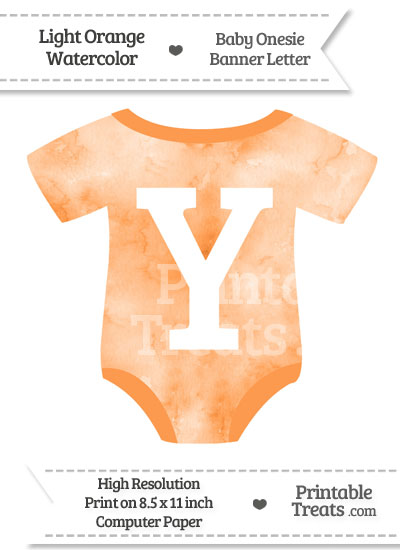 Light Orange Watercolor Baby Onesie Shaped Banner Letter Y from PrintableTreats.com