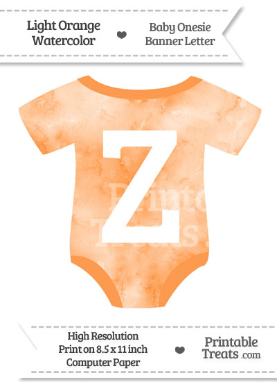 Light Orange Watercolor Baby Onesie Shaped Banner Letter Z from PrintableTreats.com