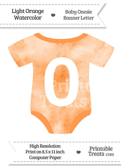 Light Orange Watercolor Baby Onesie Shaped Banner Number 0 from PrintableTreats.com
