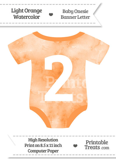 Light Orange Watercolor Baby Onesie Shaped Banner Number 2 from PrintableTreats.com