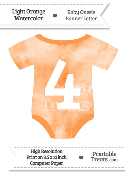 Light Orange Watercolor Baby Onesie Shaped Banner Number 4 from PrintableTreats.com