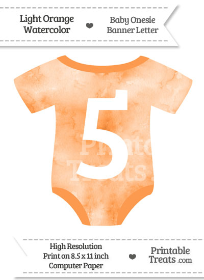 Light Orange Watercolor Baby Onesie Shaped Banner Number 5 from PrintableTreats.com