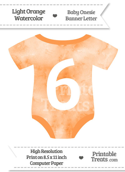 Light Orange Watercolor Baby Onesie Shaped Banner Number 6 from PrintableTreats.com