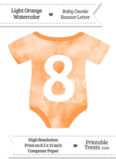 Light Orange Watercolor Baby Onesie Shaped Banner Number 8 from PrintableTreats.com