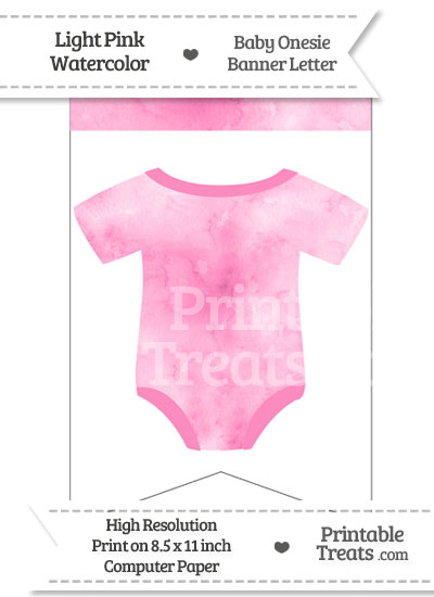 Light Pink Watercolor Baby Onesie Bunting Banner Blank Spacer Flag from PrintableTreats.com
