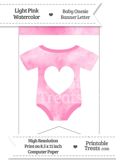 Light Pink Watercolor Baby Onesie Bunting Banner Heart End Flag from PrintableTreats.com