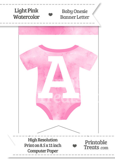 Light Pink Watercolor Baby Onesie Bunting Banner Letter A from PrintableTreats.com