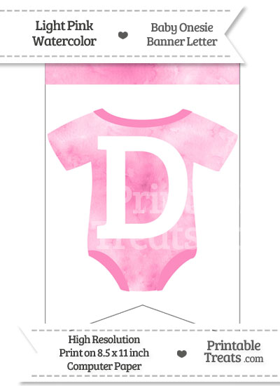 Light Pink Watercolor Baby Onesie Bunting Banner Letter D from PrintableTreats.com
