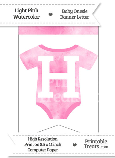 Light Pink Watercolor Baby Onesie Bunting Banner Letter H from PrintableTreats.com