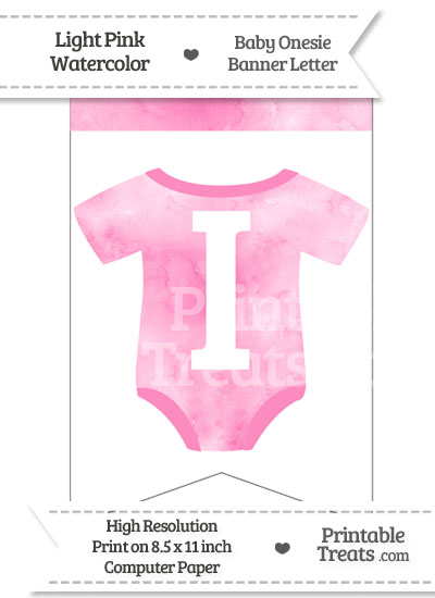 Light Pink Watercolor Baby Onesie Bunting Banner Letter I from PrintableTreats.com