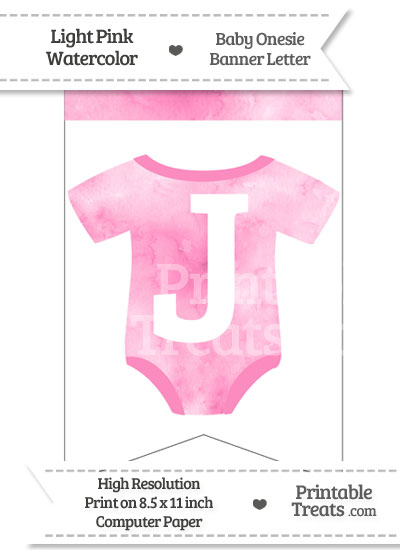 Light Pink Watercolor Baby Onesie Bunting Banner Letter J from PrintableTreats.com