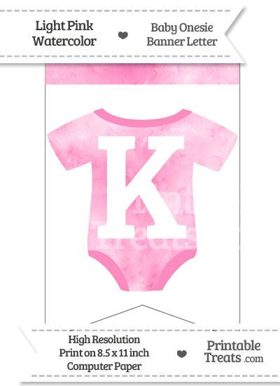 Light Pink Watercolor Baby Onesie Bunting Banner Letter K from PrintableTreats.com