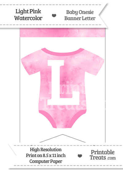 Light Pink Watercolor Baby Onesie Bunting Banner Letter L from PrintableTreats.com