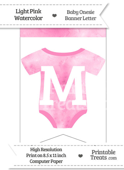 Light Pink Watercolor Baby Onesie Bunting Banner Letter M from PrintableTreats.com