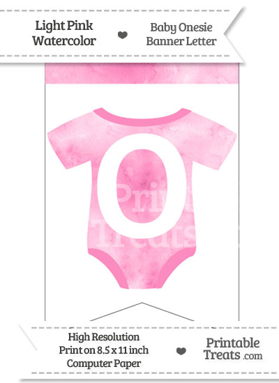 Light Pink Watercolor Baby Onesie Bunting Banner Letter O from PrintableTreats.com