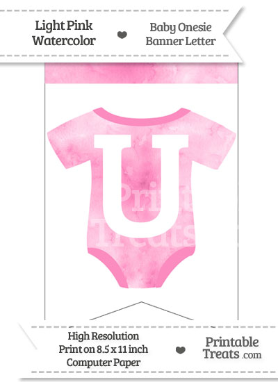 Light Pink Watercolor Baby Onesie Bunting Banner Letter U from PrintableTreats.com